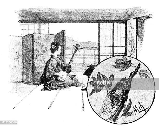 illustrations, cliparts, dessins animés et icônes de antique dotprinted aquarelle illustration de japon : femme avec guitare shamisen - cigale