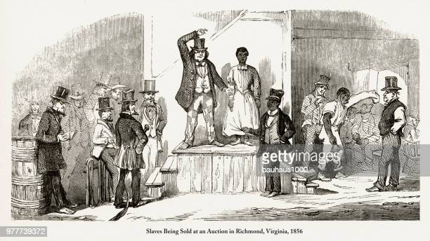 antique early american engraving depicting social issues, circa 1850's - black civil rights stock illustrations, clip art, cartoons, & icons