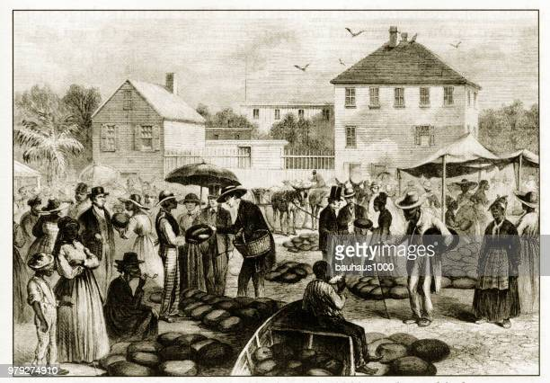 Antique American début gravure illustrant les questions sociales, vers 1850
