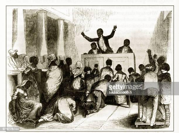 illustrations, cliparts, dessins animés et icônes de antique american début gravure illustrant les questions sociales, vers 1850 - image du xixème siècle