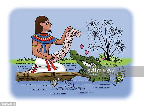 antique egiptian men with papyrus - nile river stock illustrations, clip art, cartoons, & icons