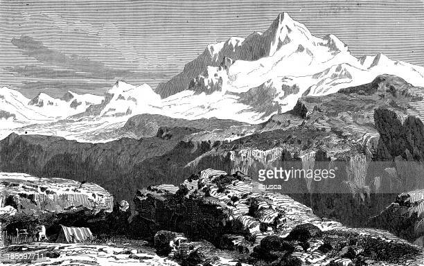 Antique engraved image of Mount Everest