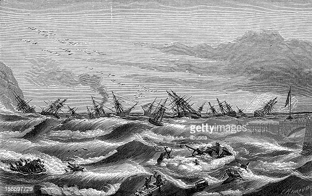 Antique engraved image of sea tempest with ships
