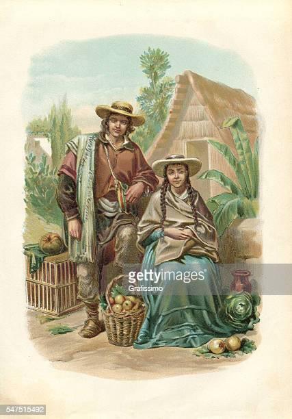 ilustraciones, imágenes clip art, dibujos animados e iconos de stock de antique engraving cholos indians in peru 1880 - cultura peruana