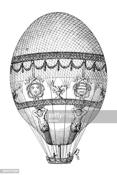 antique engraving illustration: air balloon - hot air balloon stock illustrations, clip art, cartoons, & icons