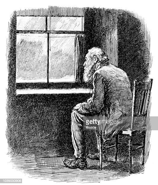 man looking out a window Original relief print