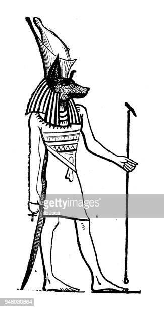 Antiguo grabado de la ilustración: Anubis