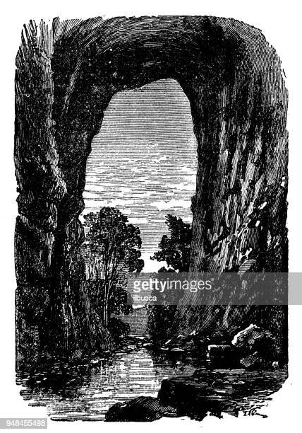 antique engraving illustration: arch of the natural bridge of virginia - natural arch stock illustrations, clip art, cartoons, & icons