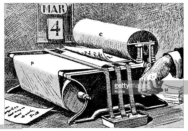 antique engraving illustration: automatic letter copier - photocopier stock illustrations, clip art, cartoons, & icons