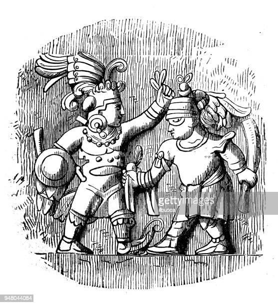ilustrações de stock, clip art, desenhos animados e ícones de antique engraving illustration: aztec warriors - astecas