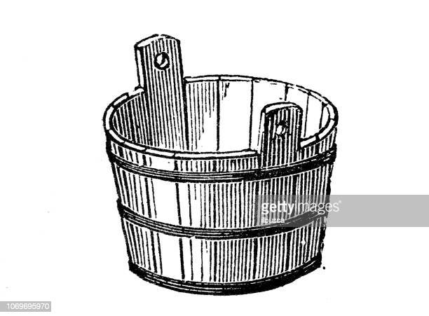 antique engraving illustration: basin - wash bowl stock illustrations