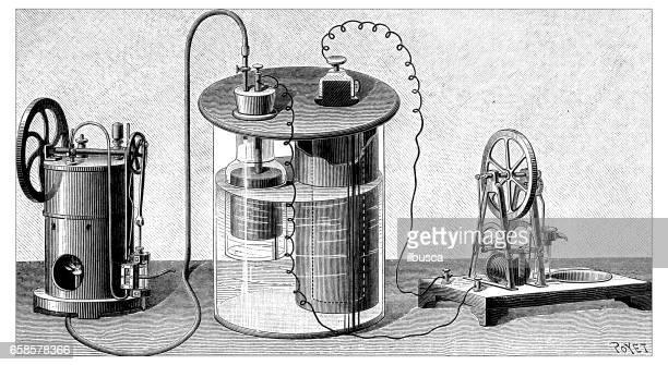 illustrations, cliparts, dessins animés et icônes de ancienne gravure illustration: batterie et machine à vapeur - physics