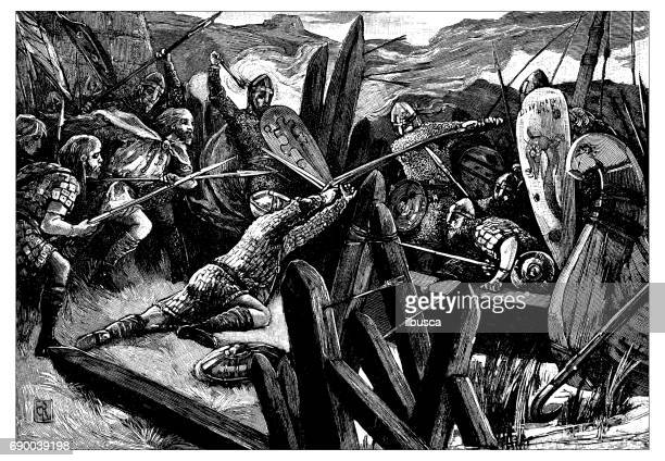 Antique engraving illustration: Battle