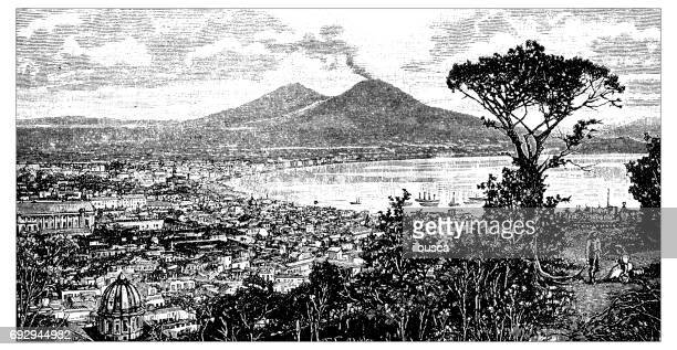 antique engraving illustration: bay of naples - naples italy stock illustrations