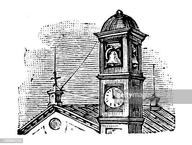 antique engraving illustration: belltower - bell tower tower stock illustrations