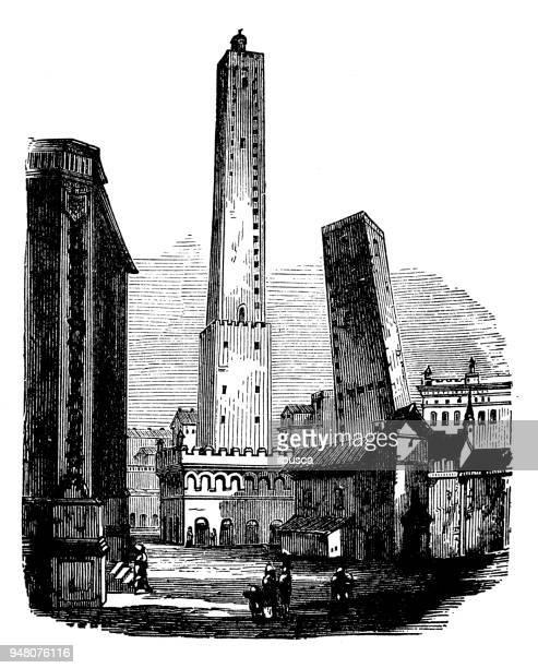 antique engraving illustration: bologna towers - bologna stock illustrations, clip art, cartoons, & icons