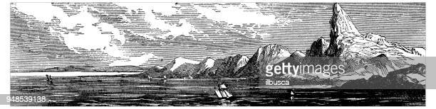 antique engraving illustration: canary island - canary islands stock illustrations, clip art, cartoons, & icons