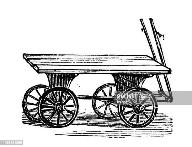 antique engraving illustration: cart - horse cart stock illustrations, clip art, cartoons, & icons