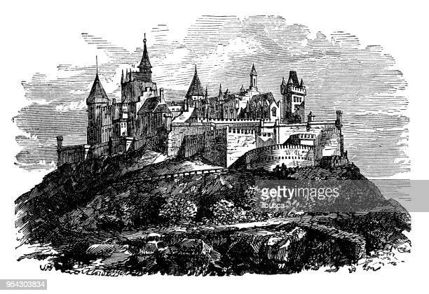 antique engraving illustration: castle of hohenzollern - castle stock illustrations, clip art, cartoons, & icons
