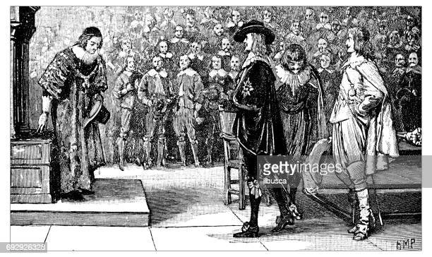 Antique engraving illustration: Charles I and Prince Rupert in the House of Commons