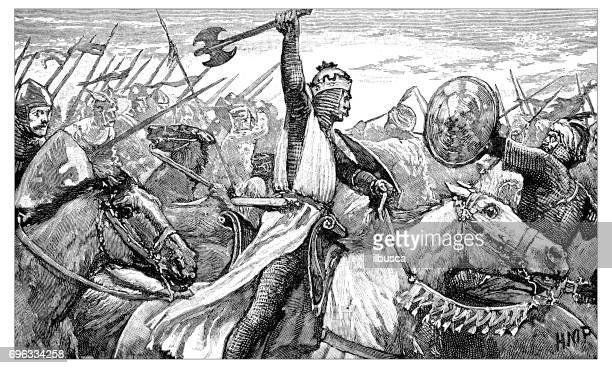 antique engraving illustration: charles martel at the battle of tours - tours france stock illustrations, clip art, cartoons, & icons