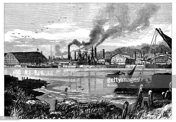 Antique engraving illustration: Chatham Dockyard