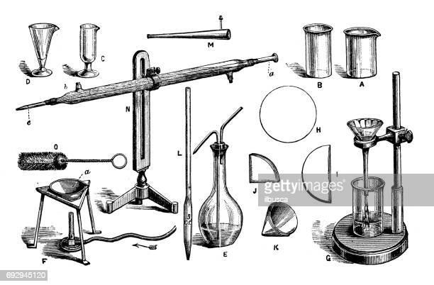 antique engraving illustration: chemistry equipment - chemistry stock illustrations