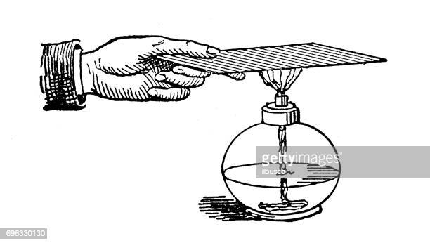 Antique engraving illustration: Chemistry experiment