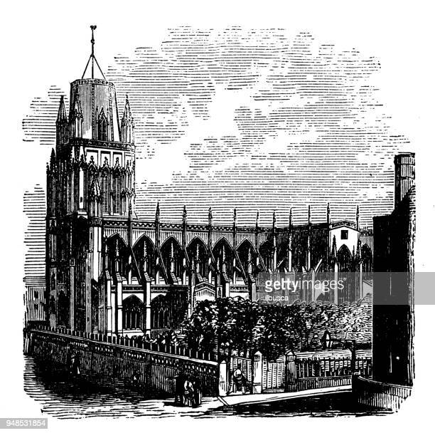 Antique engraving illustration: Church of St May Redcliffe, Bristol