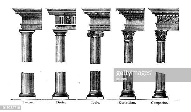 antique engraving illustration: column capitals - corinthian stock illustrations, clip art, cartoons, & icons