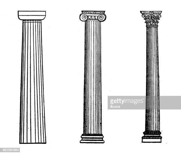 antique engraving illustration: columns - corinthian stock illustrations, clip art, cartoons, & icons