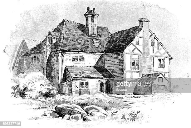 Antik gravyr illustration: Country house