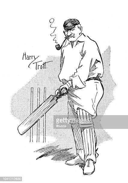 antique engraving illustration: cricket players - bong stock illustrations