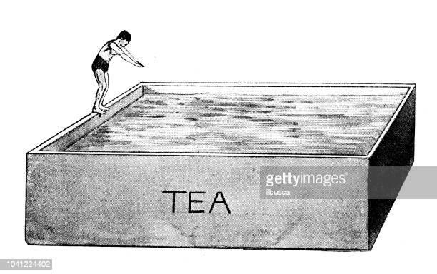 antique engraving illustration: diving into tea - diving stock illustrations