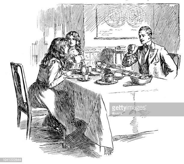 ilustrações de stock, clip art, desenhos animados e ícones de antique engraving illustration: domestic life - mesa cafe da manha