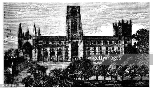 antique engraving illustration: durham cathedral - northeastern england stock illustrations, clip art, cartoons, & icons