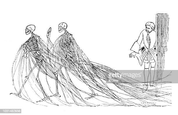 ilustraciones, imágenes clip art, dibujos animados e iconos de stock de antiguo grabado de la ilustración: esqueleto fantasma - esqueleto humano