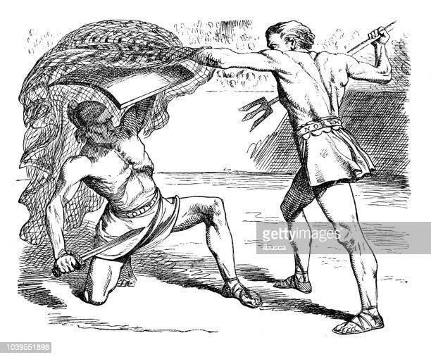 antique engraving illustration: gladiators - gladiator stock illustrations