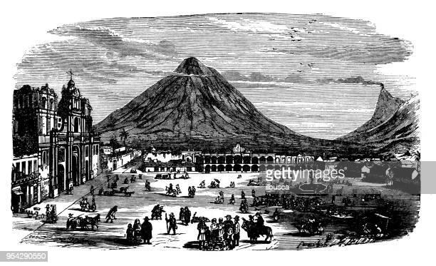 antique engraving illustration: guatemala la antigua - guatemala stock illustrations, clip art, cartoons, & icons