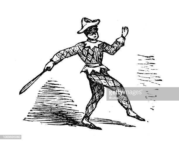 Ancienne gravure illustration: Arlequin