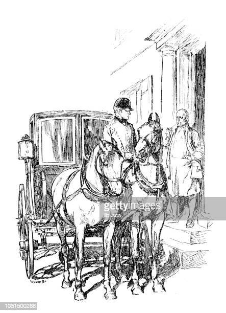 antique engraving illustration: horse carriage - horsedrawn stock illustrations, clip art, cartoons, & icons