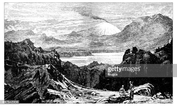 antique engraving illustration: iceland, mount hecla - hecla grindstone provincial park stock illustrations, clip art, cartoons, & icons