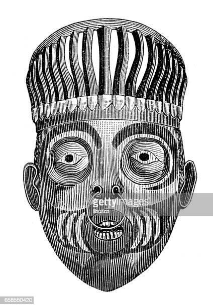 illustrations, cliparts, dessins animés et icônes de ancienne gravure illustration: masque de la tribu indigène - masque africain