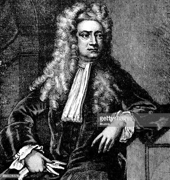 antique engraving illustration: isaac newton - physicist stock illustrations, clip art, cartoons, & icons