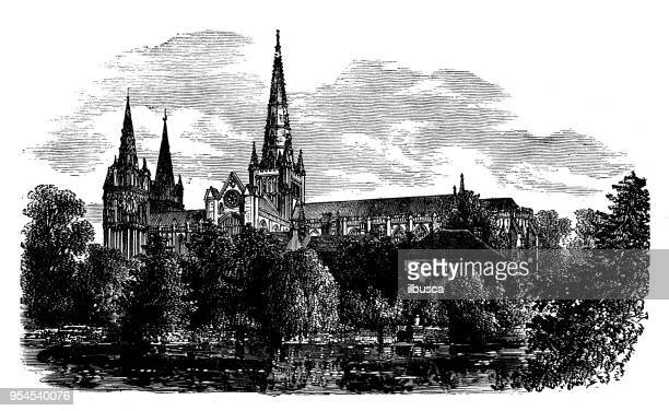Antique engraving illustration: Lichfield Cathedral