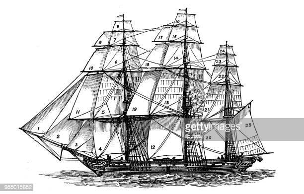 ilustrações, clipart, desenhos animados e ícones de antiga gravura ilustração: navio mercante - tall ship