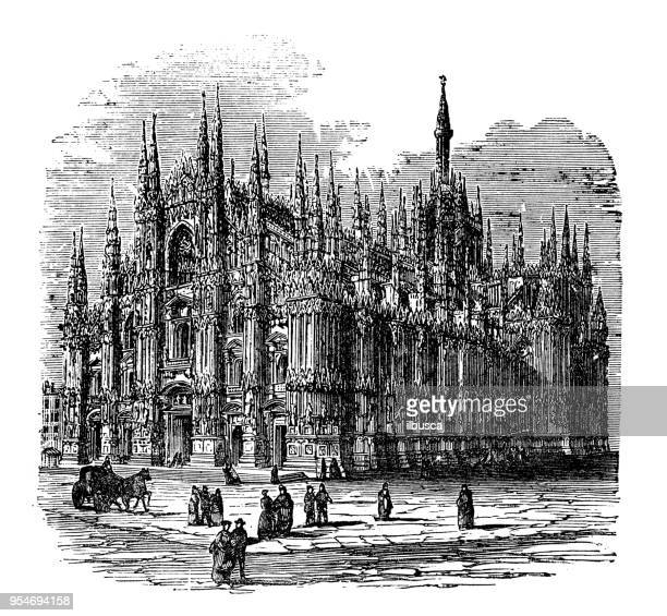 antique engraving illustration: milan cathedral - milan stock illustrations, clip art, cartoons, & icons