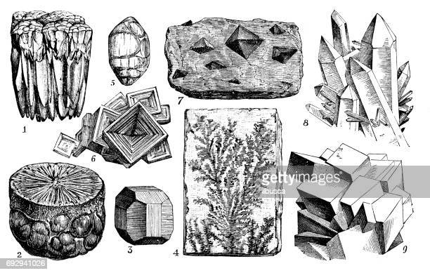 antique engraving illustration: minerals and ores - crystal stock illustrations