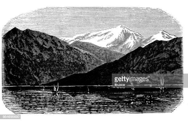 antique engraving illustration: mont blanc from morges - mont blanc stock illustrations, clip art, cartoons, & icons