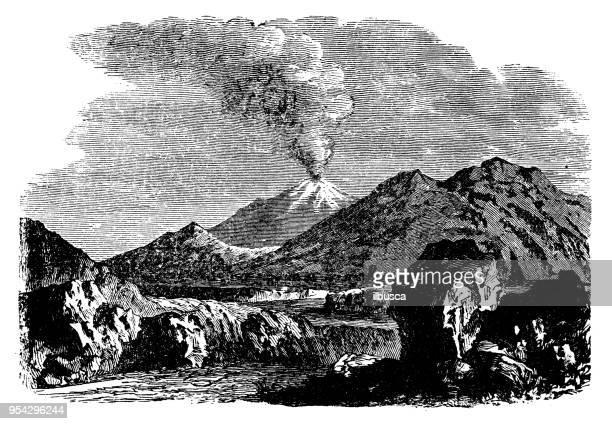 antique engraving illustration: mount hecla - volcano stock illustrations, clip art, cartoons, & icons
